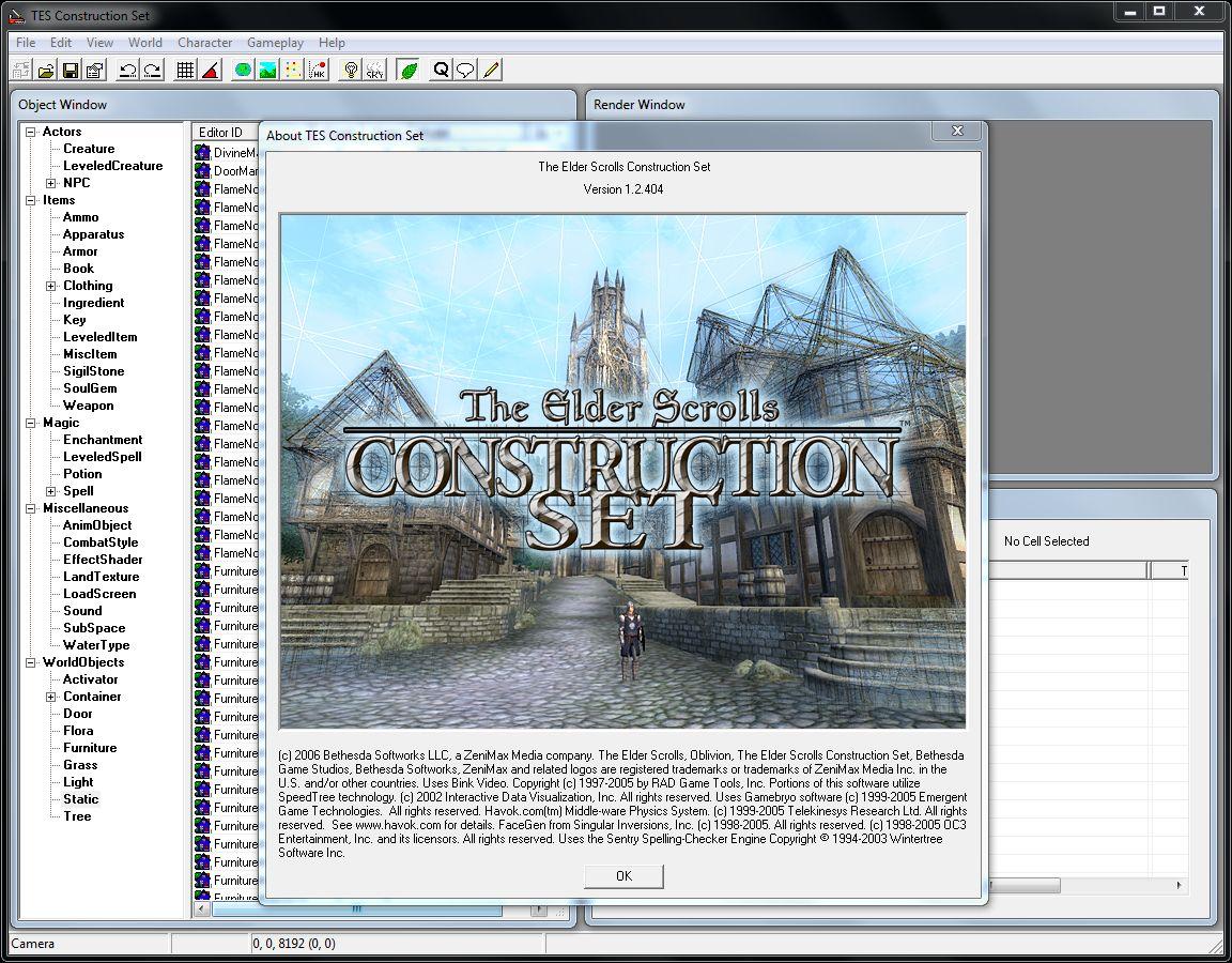 TES 4 Construction Set 1.2.404 Редактор esp и esm файлов для создания и изм